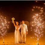 Feuerwerk Brautpaar Sterne