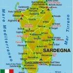 Karte Sardinien farbig